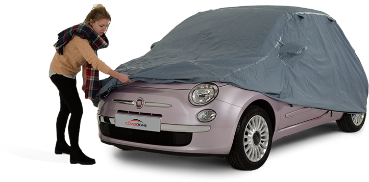 Monsoon waterproof car cover - Part covered Fiat 500